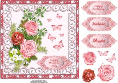 Butterflies and Roses - CUP516614_825 | Craftsuprint