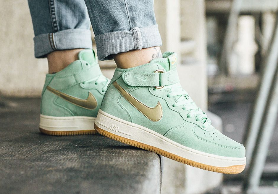 The Nike Air Force 1 Mid Enamel Green (Style Code: 818596-300)