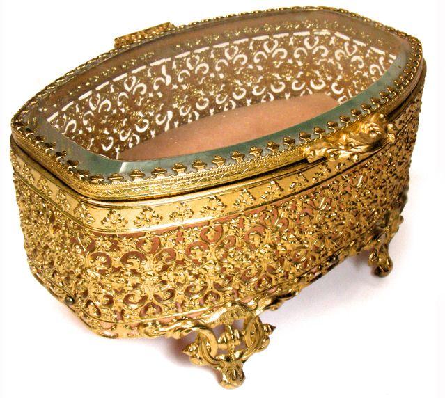 ANTIQUE ORMOLU BEVELED GLASS JEWELRY BOX CASKET PINK Jewelry