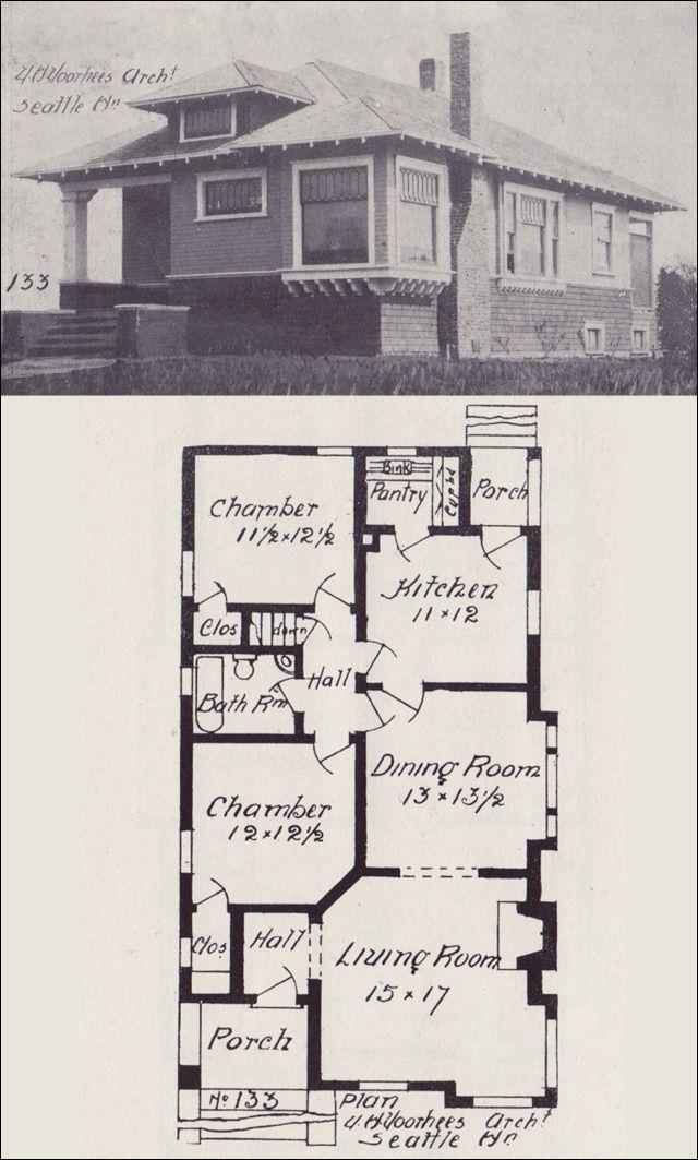 1908 Hip Roofed Bungalow Cottage Plan Western Home Builder Vintage House Plans No 133 Vintage House Plans Cottage Plan House Blueprints