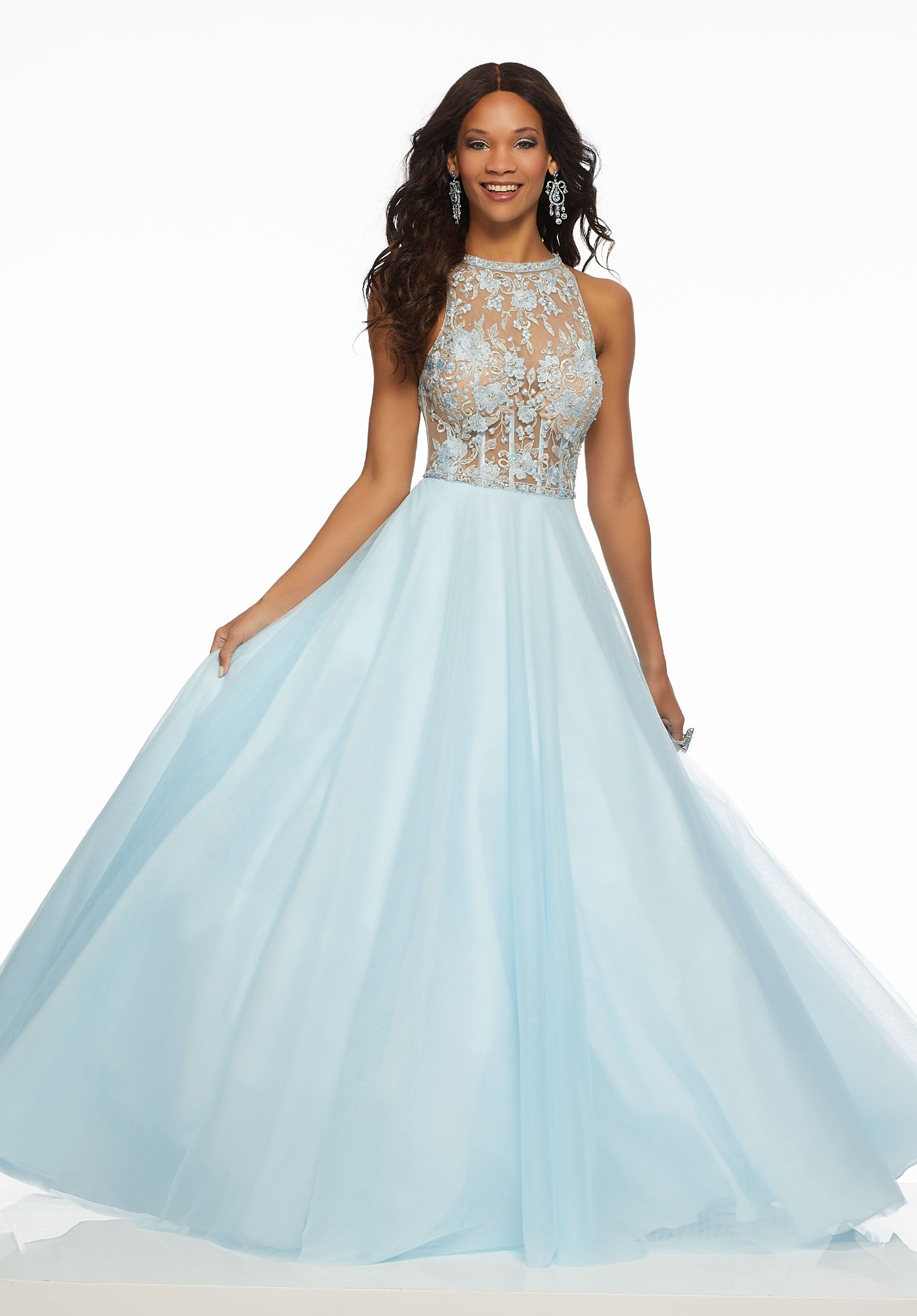 0a56505b844 Beaded Embroidery on Tulle Beautiful Prom Ballgown Featuring a Sheer