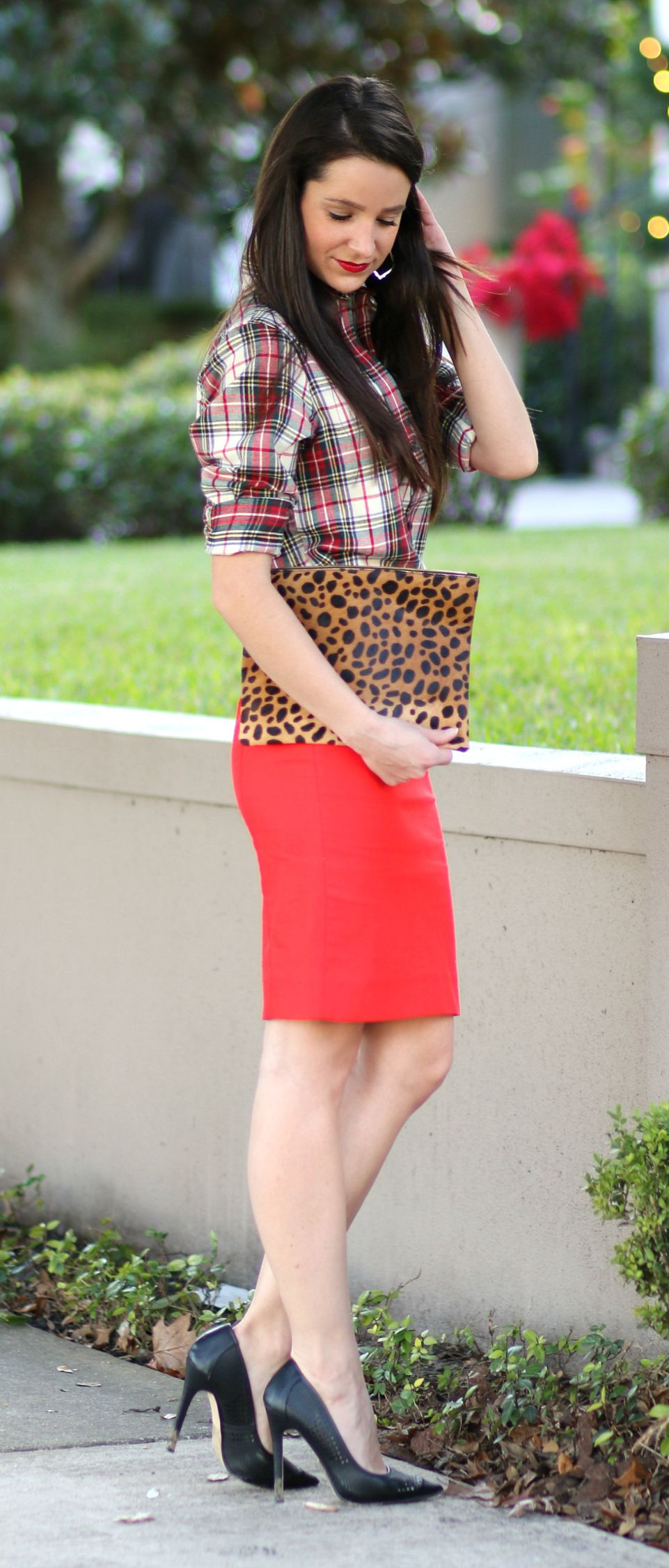 059ffd5442 How to wear a red pencil skirt to work in December! Love this festive  holiday look. J.Crew Factory red pencil skirt with a Scotch plaid flannel  shirt, ...
