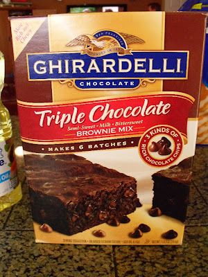 The simple trick to turning the cakey Ghiradelli brownie mixes (bulk from Costco) into a HEAVENLY pan of thin fudgy chewy brownies (the way real brownies are suppose to taste!) I've been working with this recipe and I have perfected it!