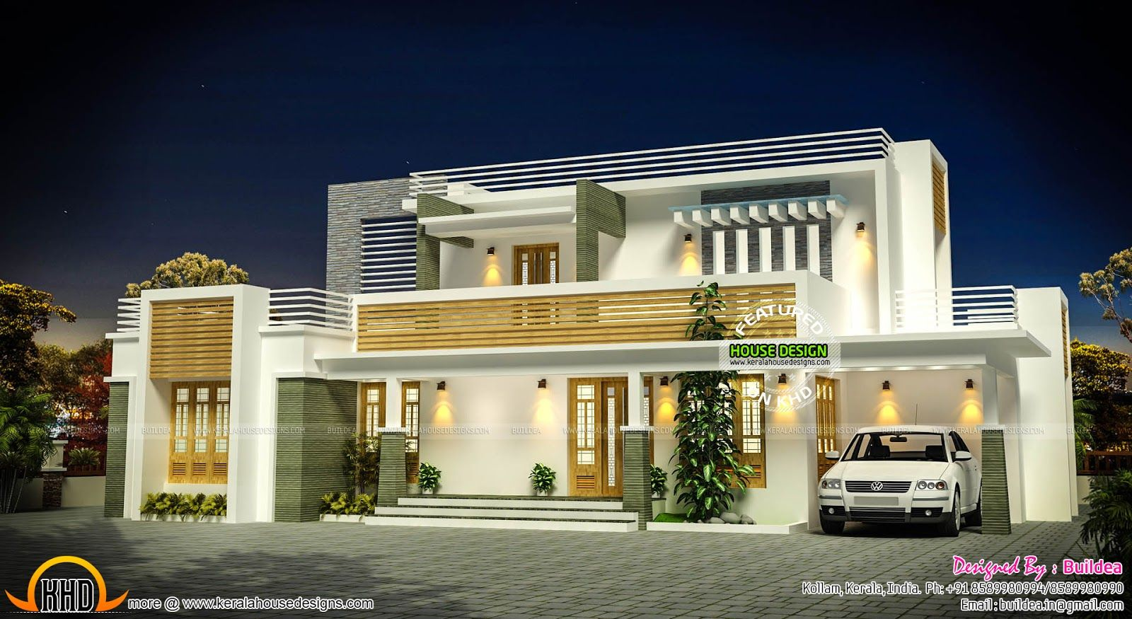 Beautiful 1885 Square Feet, 4 Bedroom Contemporary Model Flat Roof House Design  Provided By Buildea, Kollam, Kerala.