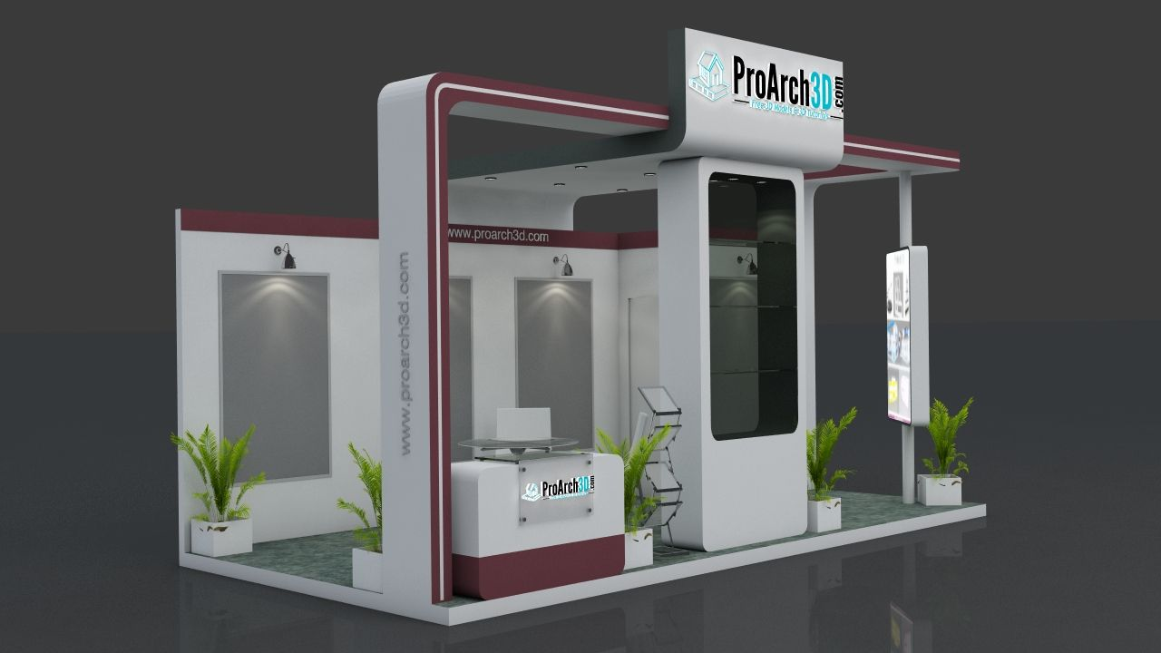 Exhibition Stand Design 3d Max : Exhibition stall d model free exhibition space exhibition