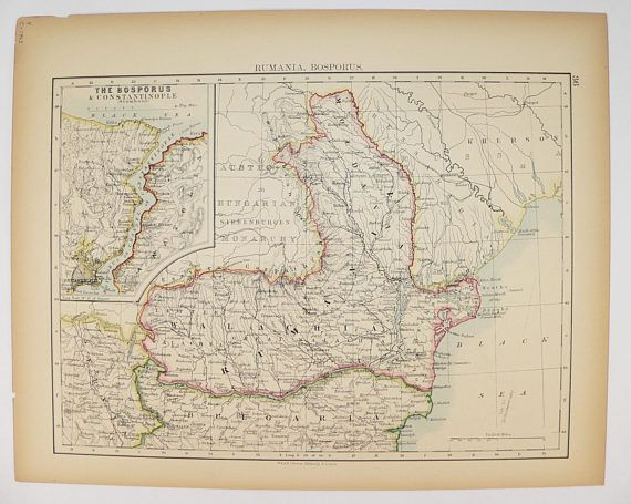 Vintage Romania Map 1903 Map Istanbul Turkey Map Constantinople