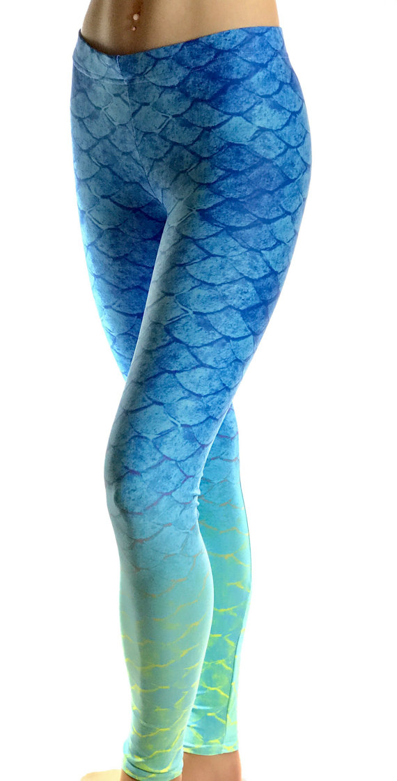 bd0e52f525cb16 Blue Mermaid fish scale leggings. Girls, Womens and Mens Leggings and  Shorts. Womens designs offered in High Waist, Regular Low Waist, Capri, and  Shorts.