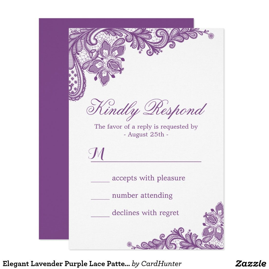 Elegant Lavender Purple Lace Pattern Rsvp Card Purple Lace Lace