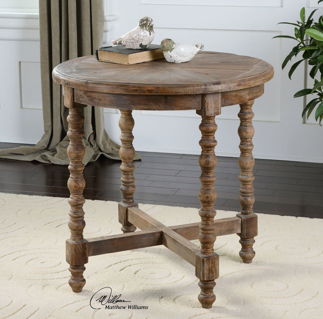 Rustic Wood Spindle Leg End Table With Sunburst Top Wood End Tables Sofa End Tables End Tables [ 1262 x 1280 Pixel ]