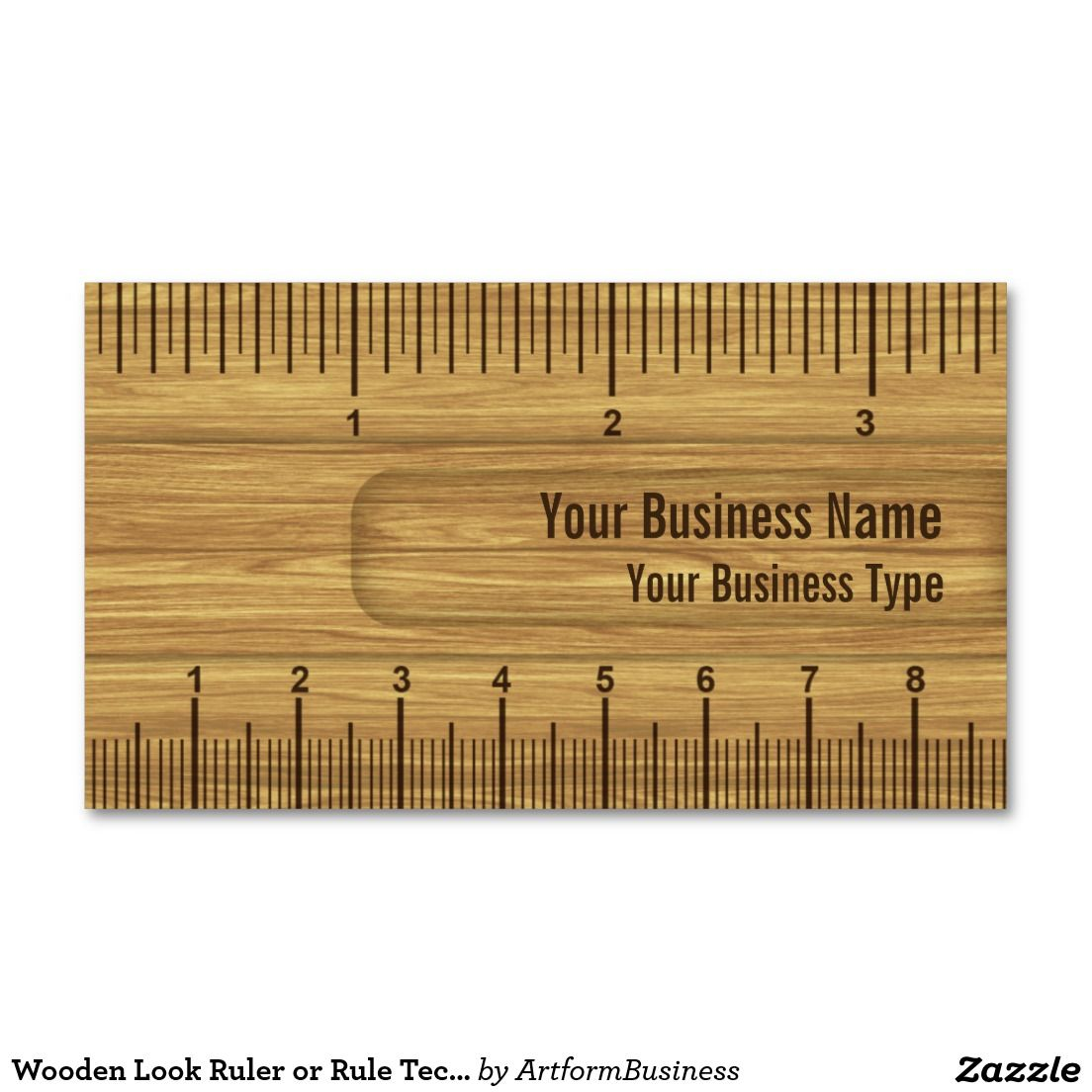 Wooden Look Ruler Rule Construction Or Carpenter Business Card