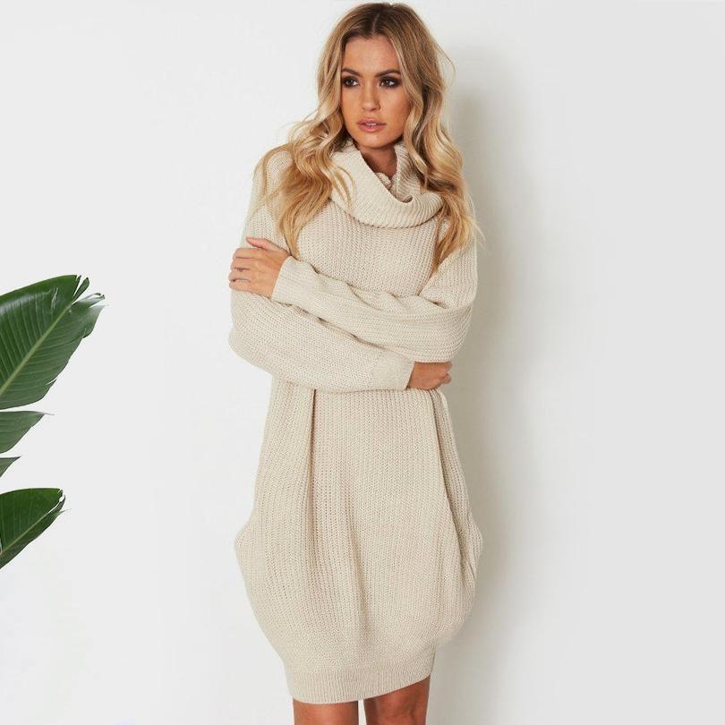 2a1ac3fba0 Turtleneck Knitted Sweater Dress | dreamME | Dresses, Knit sweater dress