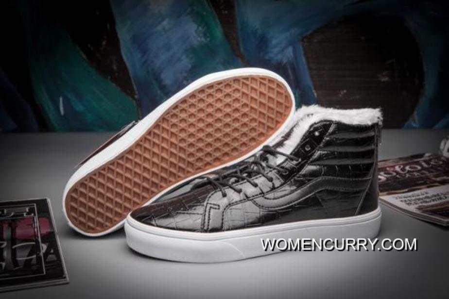 2da67189d2 Vans Plus Velvet Crocodile Leather SK8-Hi Classics Zip Slim Black  True-White Womens Shoes For Sale