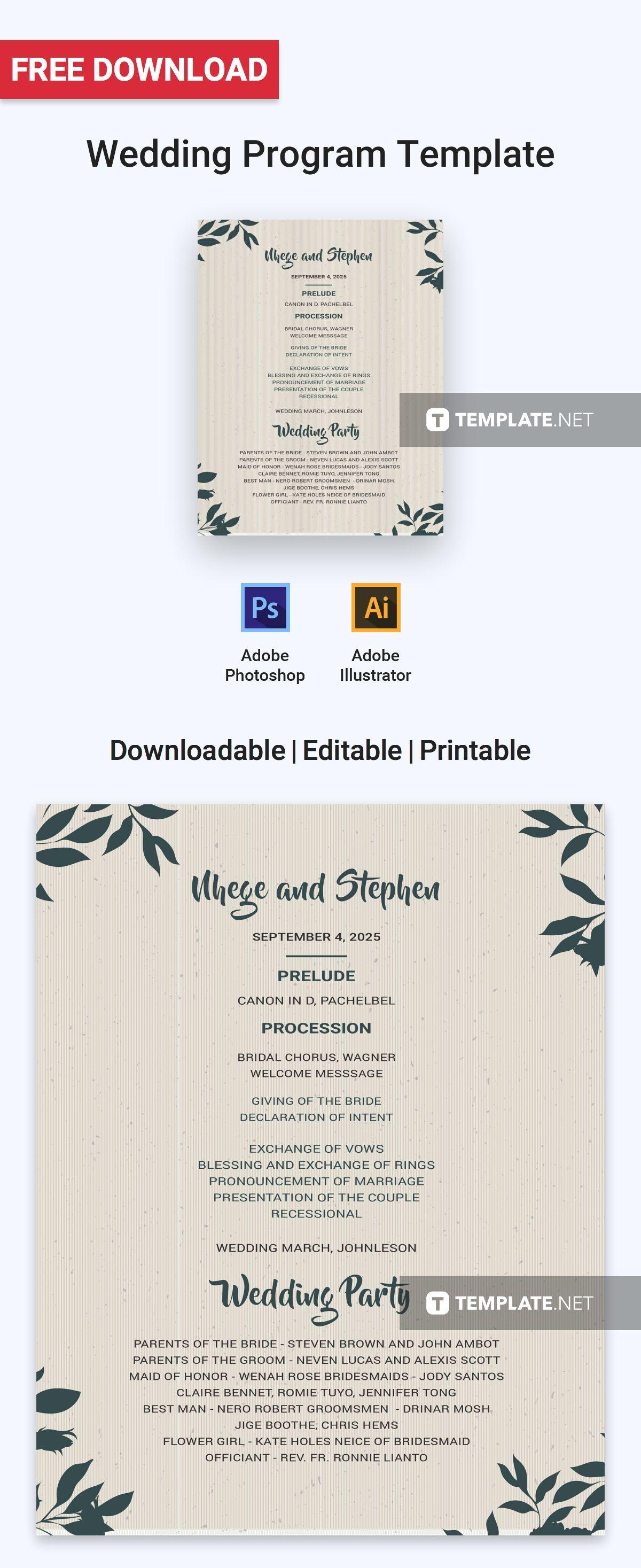 Free Wedding Program In 2018 Free Program Templates Pinterest