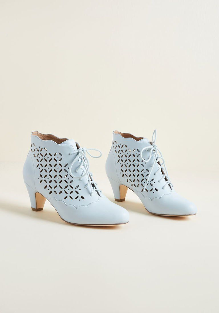 63b67981a4 Old World Bold Bootie in Blue in 39 - Mid Heel - Over 2 -3 by Chelsea Crew  from ModCloth