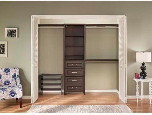 Wonderful Closet Organizers 43503: Closetmaid Impressions 25 In Chocolate Closet Kit  8 Shelves 3 Rods Adjustable