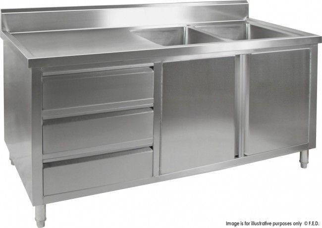 Kitchen Tidy Premium Stainless Steel Cabinet With Double Sinks Doors Drawers With Nice Design  sc 1 st  Pinterest & Kitchen Tidy Premium Stainless Steel Cabinet With Double Sinks Doors ...
