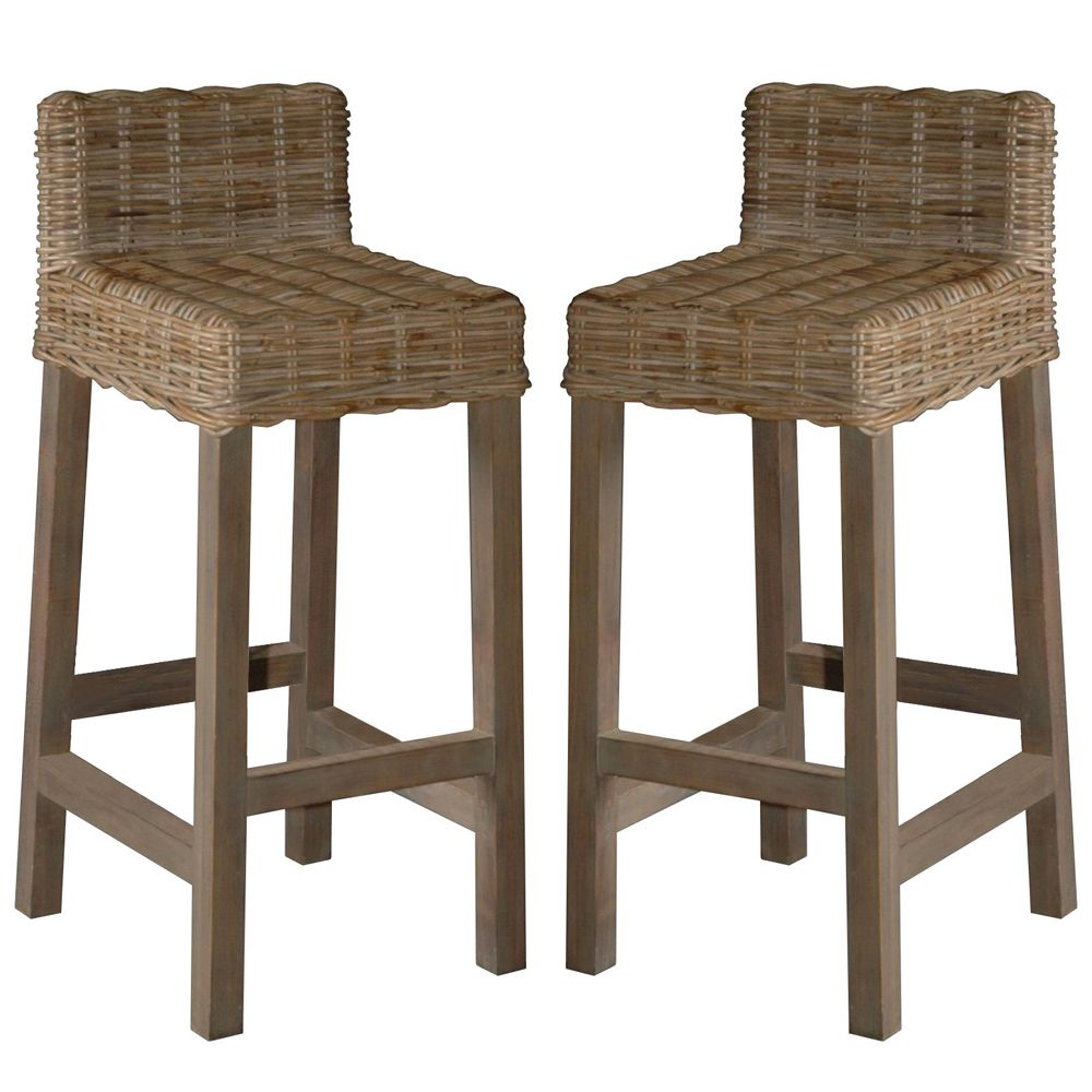 Woven Rattan Gray Washed Bar Stools Barhocker Barstuhle