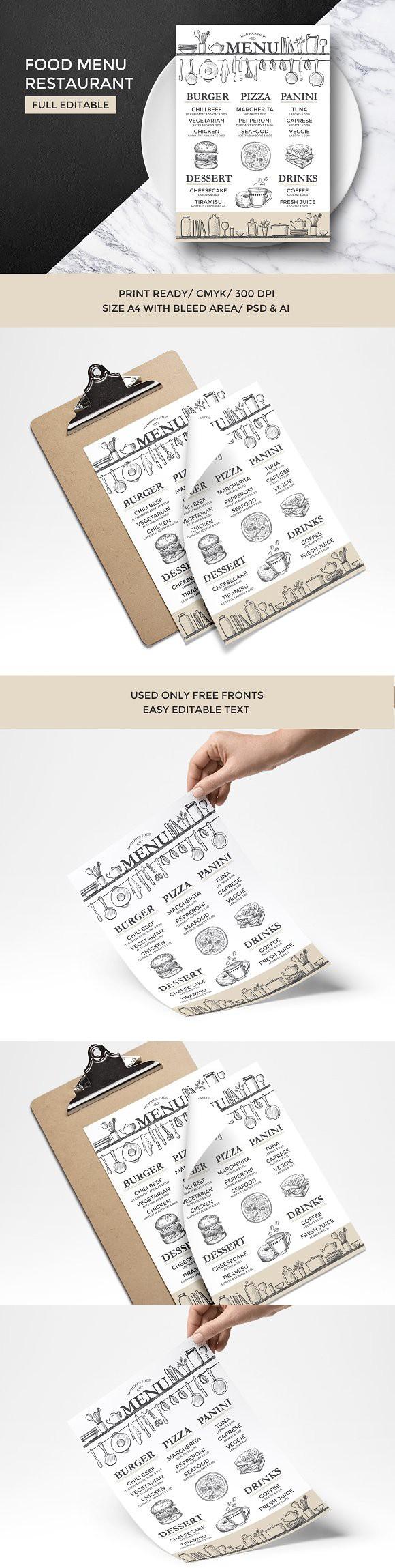 Food menu restaurant template. Brochure Templates