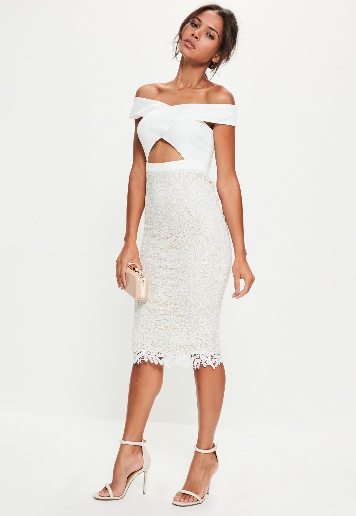 5c6b07e3a2e Missguided - White Crepe Bardot Lace Midi Dress