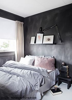 Fresco kalkverf in de kleur Black Truffle, toegepast in de ...