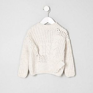 64954dd14d3a Girls cream mixed cable knit crew neck sweater