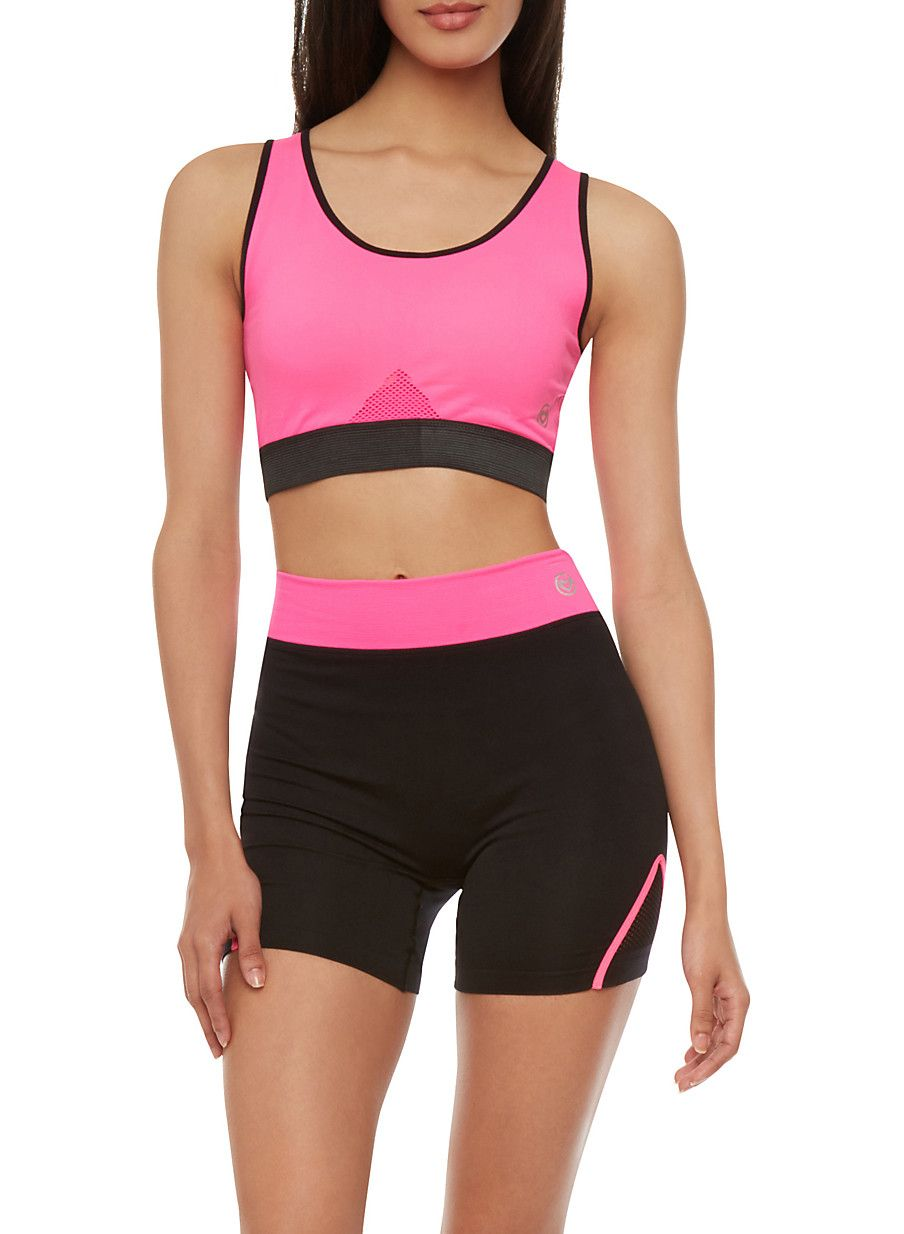 Active Wear Sports Bra With Banded Cutout Back Sports