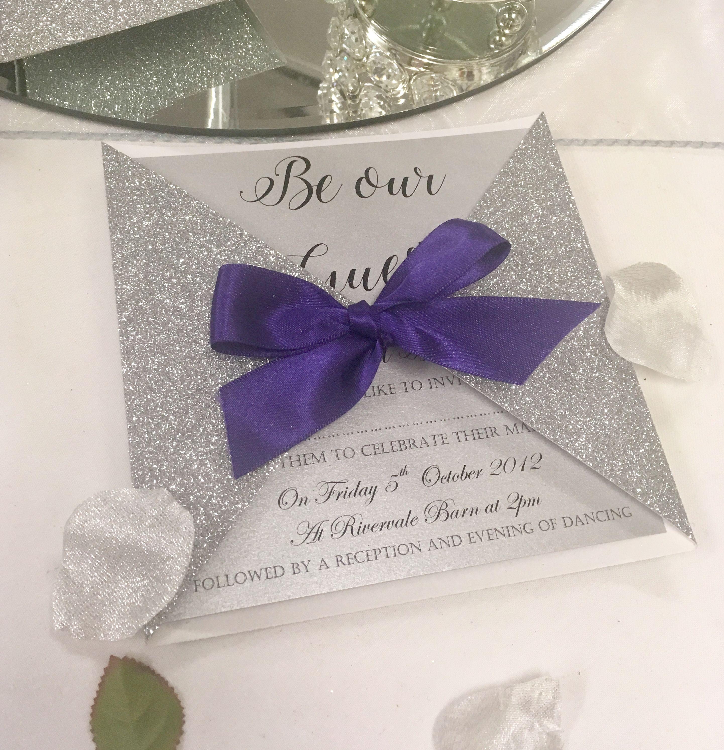 Glitter Silver Gatefold Wedding Invitation Ready Made Wedding