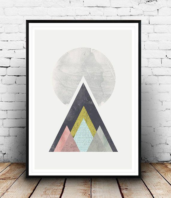 Minimalist abstract art geometric print mountains print for Minimal art zusammenfassung