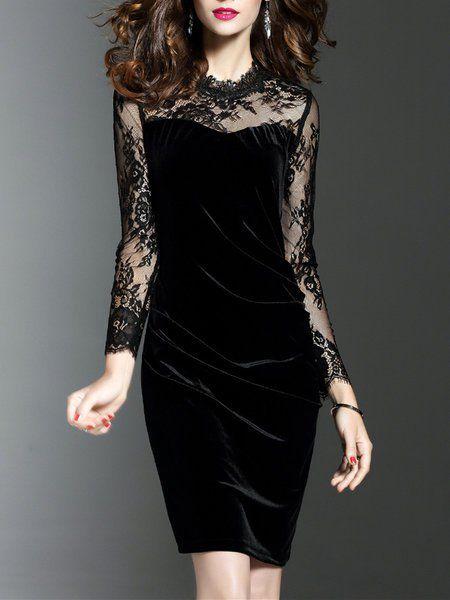 Plus Size Velvet Paneled Mesh Crew Neck Plain Elegant Long Sleeve