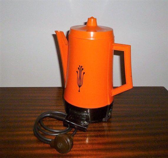 Vintage 1970s Retro Orange Coffee Percolator General Electric Poly
