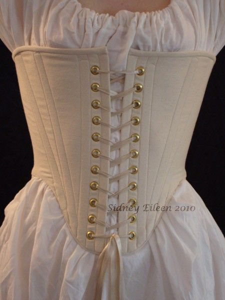 Elizabethan corset for women. The big trend was the hour glass figure that could be seen through the tight tops and flowing bottoms of the dresses. The corsets held in the girls stomach and hips, being laced tightly up the back. This was part of the layering process.-undergarments
