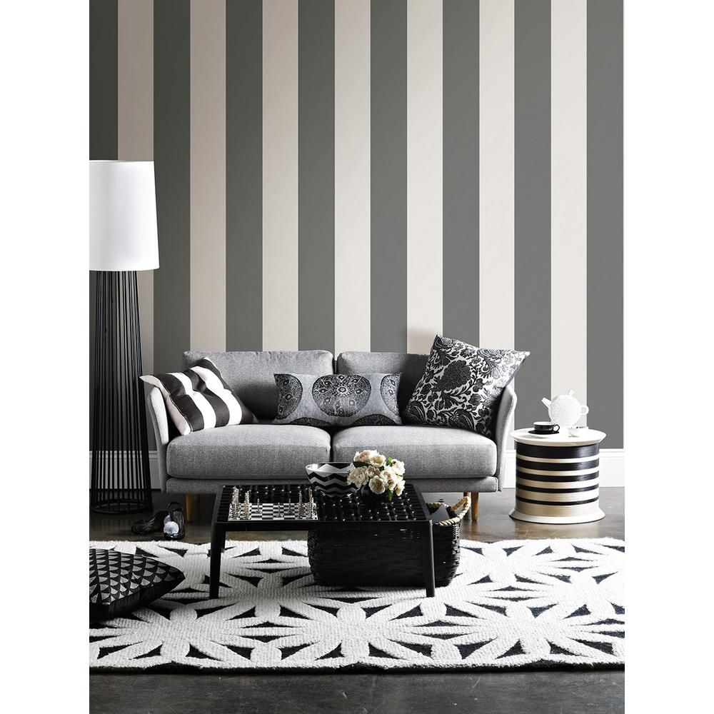 WallPOPs 6 5 in x 288 in Charcoal Peel and Stick Stripe Wall Decal