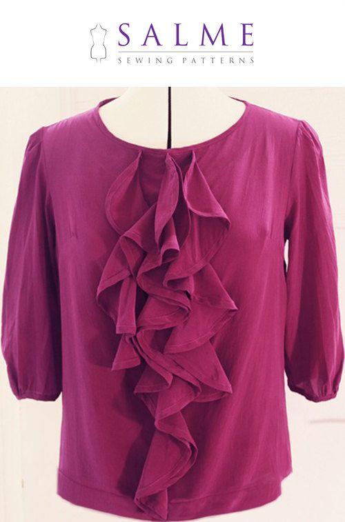 PDF Sewing pattern Ruffle blouse by Salmepatterns on Etsy | Sewing ...