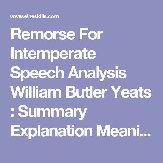 remorse for intemperate speech analysis william butler yeats  remorse for intemperate speech analysis william butler yeats summary explanation meaning overview essay writing critique