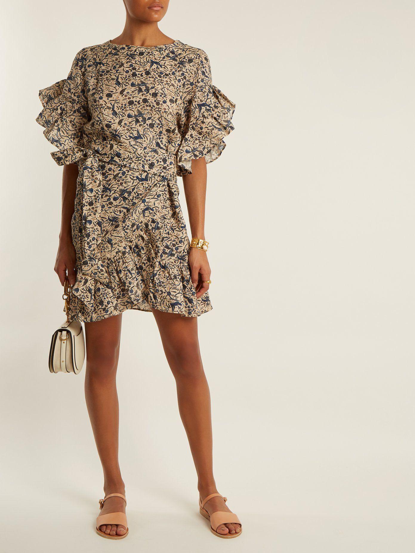 e2ce253527 Delicia ruffle-trimmed linen wrap dress