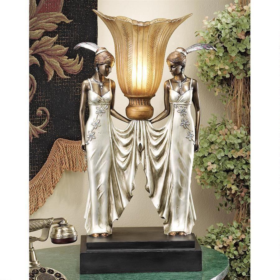 Art Deco Lamp Statue Peacock Maidens Illuminated Switch Cord 25