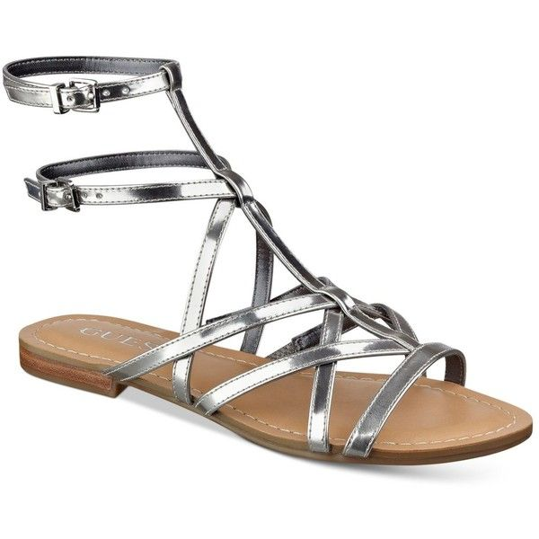 Guess Women's Mannie Strappy Flat Sandals ($69) ❤ liked on Polyvore featuring shoes, sandals, silver, silver gladiator sandals, ankle strap sandals, silver sandals, strap flat sandals and silver ankle strap sandals