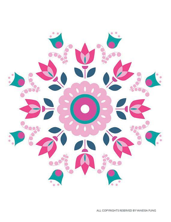 Scandinavian Folk Art Spring Pink Tulip flower art print retro ...