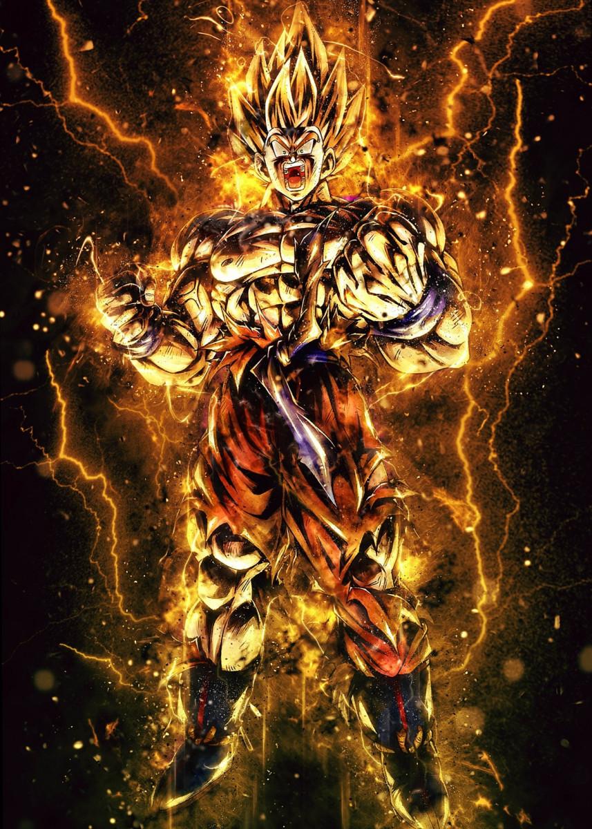Super Saiyan 2 Metal Poster El Rik Displate Dragon Ball Super Artwork Dragon Ball Super Art Anime Dragon Ball Super