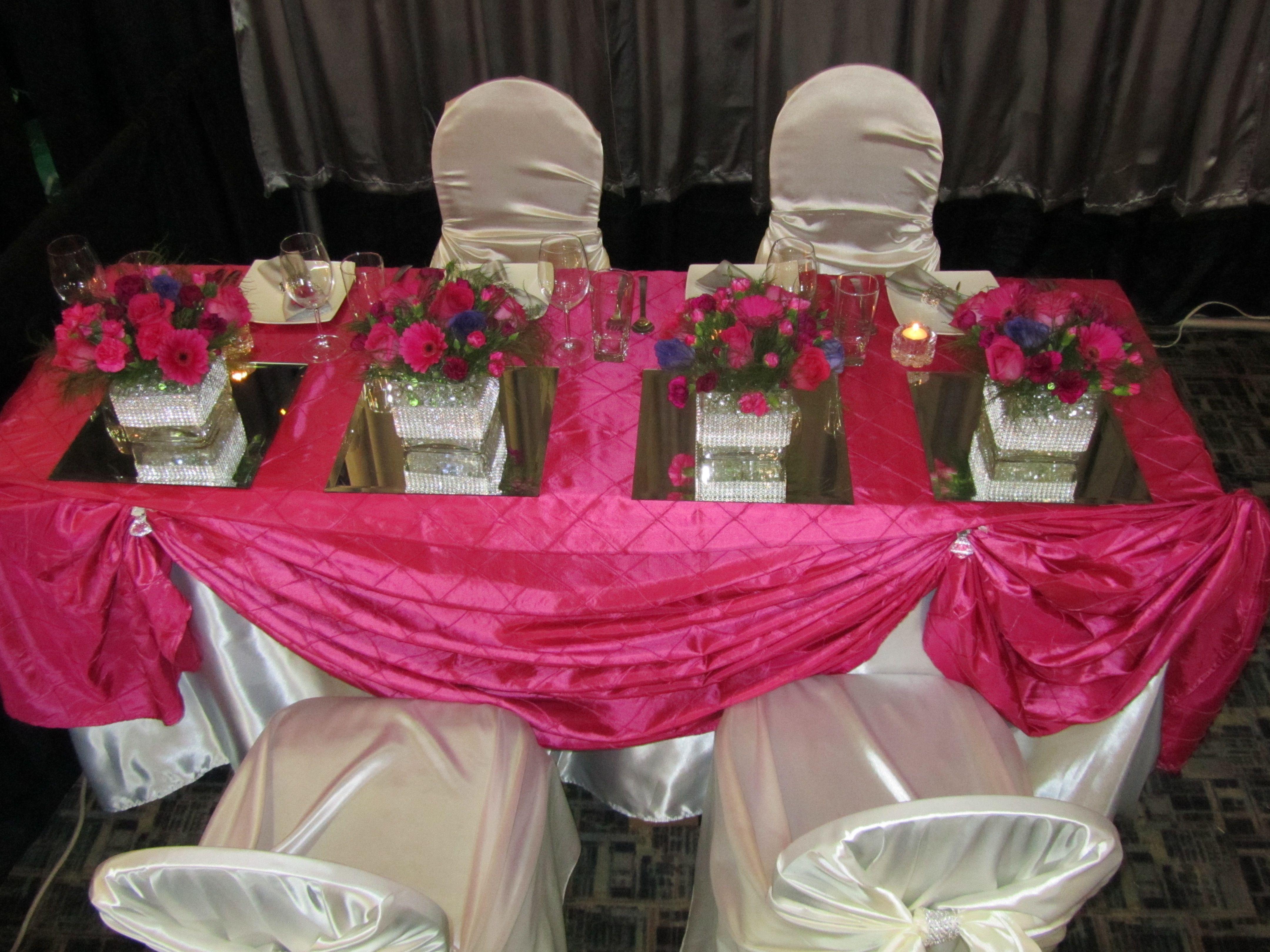 Sample Head Table Decor Fushia Pintuck tablecloth cloth with