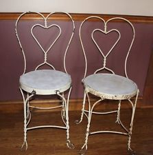 Vintage Wrought Iron Ice Cream Parlor Chairs 2 ...