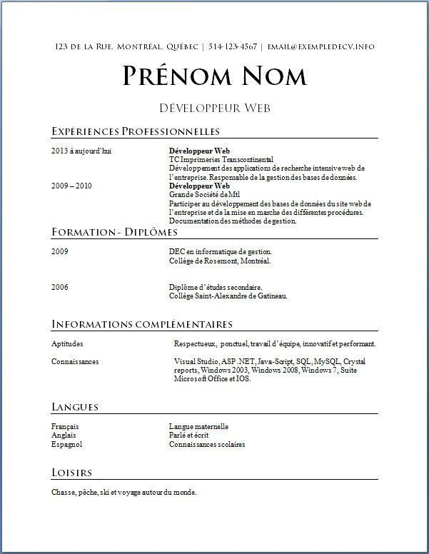 Resume Examples Quebec Pinterest Resume examples
