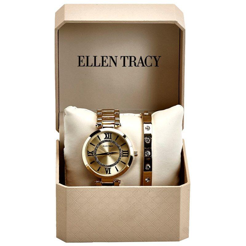 Ellen tracy womens crystal gold watch bracelet set how