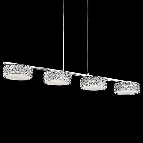 Featuring four simple shades encrusted in crystal like diffusers featuring four simple shades encrusted in crystal like diffusers this contemporary island pendant light mozeypictures Choice Image