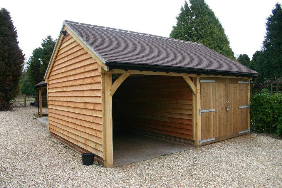 Green Oak Framed 2 Bay Garage/Car Port Carport garage
