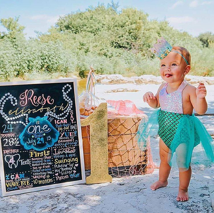 """Sparkle Romper® on Instagram: """"How precious is this vintage mermaid look for first birthday photos 💗💚🐚Birthday Merbabe wears our Pink and Emerald Sparkle Romper® and matching crown by @lovecrushcrowns #bellethreadsmerbabe #wearbellethreads"""""""