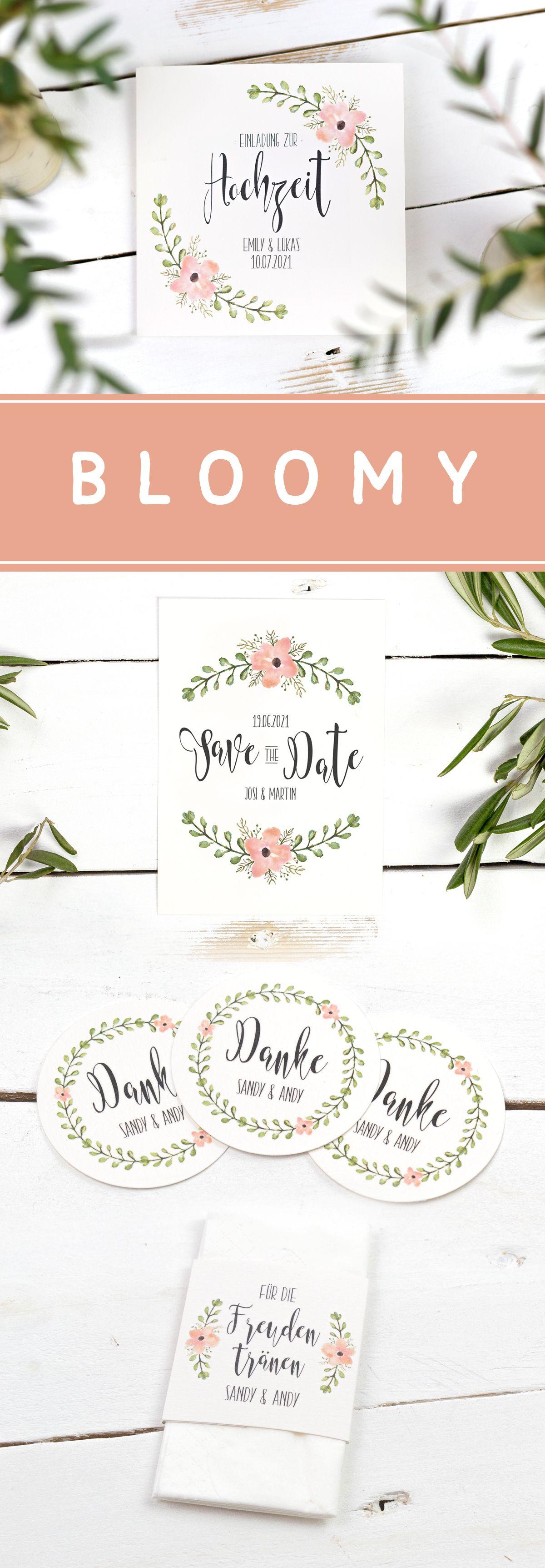 Hochzeitspapeterie bloomy hochzeitseinladung vintage hochzeit