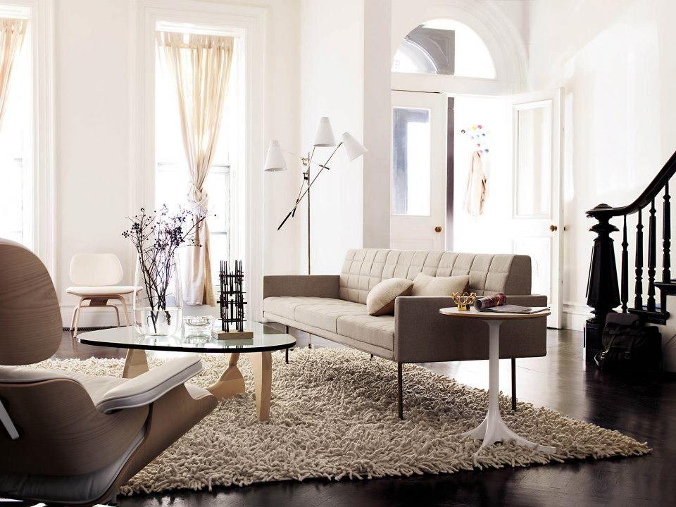 Bamfellows Tuxedo Sofa Nelson Pedestal Table Noguchi Coffee Eames Lounge Ottoman