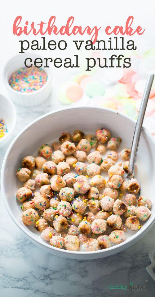 DIY Birthday Cake Cereal Puffs (Paleo) — Cheeky Kitchen | gluten free | breakfast | snack | dessert