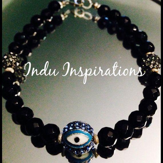 Black onyx sterling crystal evil eye protection bracelet on Etsy, $70.00